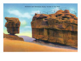 Colorado Springs, CO, View of Balanced and Steamboat Rocks, Garden of the Gods Posters by  Lantern Press