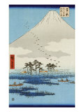 Boats on a Lake with Mount Fuji in the Background, Japanese Wood-Cut Print Prints