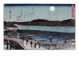 Moon over Sumida River, Japanese Wood-Cut Print Posters by  Lantern Press