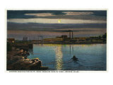 Brewer, Maine, Paradise Park View of Eastern Manufacturing Co. at Night Poster
