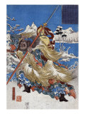 Chinese Three Kingdoms warrior Zhang Fei, Japanese Wood-Cut Print Poster