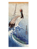 Crane in Waves, Japanese Wood-Cut Print Prints