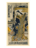 Geisha Playing a Zither, Japanese Wood-Cut Print Prints
