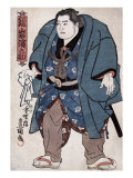 The Sumo Wrestler Kagamiiwa Hamanosuke, Japanese Wood-Cut Print Prints