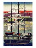 3 Masted Ship in Yokohama Harbor, Japanese Wood-Cut Print Prints by  Lantern Press