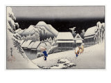 Travellers in the Snow at the Kanbara Station, Japanese Wood-Cut Print Posters