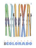 Telluride, Colorado, Skis in the Snow Print by  Lantern Press
