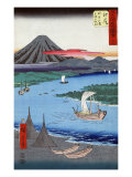 Boats on a River and ashore with Mount Fuji in the Distance, Japanese Wood-Cut Print Print by  Lantern Press