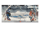 Modern Version of the Tale of Genji in Snow Scenes, Japanese Wood-Cut Print Prints