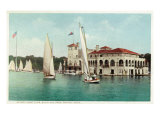 Detroit, Michigan, View of Belle Isle Park, Boat Club, Several Sailboats on the Water Prints