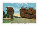 Colorado Springs, Colorado, Balanced Rock and Steamboat Rock at Garden of the Gods Prints by  Lantern Press