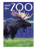 Visit the Zoo, Moose in the Moonlight Prints by  Lantern Press