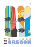 Mount Hood, Oregon, Snowboards in the Snow Prints by  Lantern Press