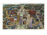 Buffalo, New York, Aerial View of Downtown and the Civic Center Poster by  Lantern Press