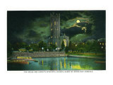 Norfolk, Virginia, Ghent District at Night, Hague and Christ's Episcopal Church View Art