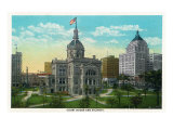 Peoria, Illinois, Exterior View of the Court House and the Vicinity Posters by  Lantern Press