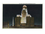 Buffalo, New York, Exterior View of City Hall with McKinley Monument at Night Prints