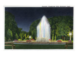 Davenport, Iowa, Vanderveer Park View of the Fountain at Night Posters by  Lantern Press