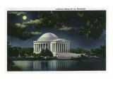 Washington DC, Exterior View of the Jefferson Memorial at Night Prints