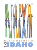 Magic Mountain, Idaho, Skis in the Snow Prints by  Lantern Press