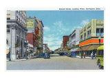 Davenport, Iowa, Western View down Second Street Prints by  Lantern Press
