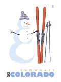 Snowmass, Colorado, Snowman with Skis Poster by  Lantern Press