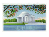 Washington, DC, View of the Thomas Jefferson Memorial, Cherry Trees Prints by  Lantern Press