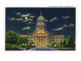 Springfield, Illinois, Exterior View of the State Capitol Building at Night Prints by  Lantern Press