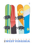Timberline, West Virginia, Snowboards in the Snow Posters