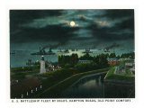 Hampton, Virginia, Old Point Comfort View of Hampton Roads, US Battleships at Night Posters by  Lantern Press