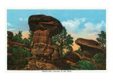 Colorado Springs, Colorado, View of Giant Mushroom Rock Formations Art