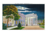 Washington DC, View of the White House Side at Night Art by  Lantern Press