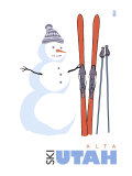 Alta, Utah, Snowman with Skis Prints by  Lantern Press