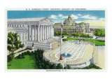 Washington DC, Exterior Views of the US Supreme Court House and Library of Congress Prints by  Lantern Press