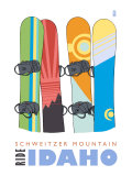Schweitzer Mountain, Idaho, Snowboards in the Snow Posters by  Lantern Press