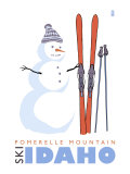 Pomerelle Mountain, Idaho, Snowman with Skis Poster by  Lantern Press