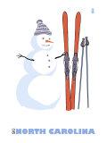 North Carolina, Snowman with Skis Prints by  Lantern Press