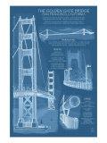 Lantern Press - San Francisco, CA, Golden Gate Bridge Technical Blueprint - Reprodüksiyon