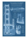 San Francisco, CA, Golden Gate Bridge Technical Blueprint Posters