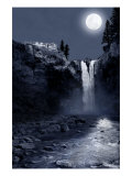 Snoqualmie Falls, Washington, View of the Falls at Night Posters by  Lantern Press