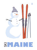 Maine, Snowman with Skis Art by  Lantern Press