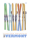 Stratton Mountain, Vermont, Skis in the Snow Print by  Lantern Press