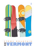 Stowe Mountain, Vermont, Snowboards in the Snow Posters by  Lantern Press