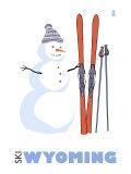 Wyoming, Snowman with Skis Prints by  Lantern Press