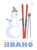 Bogus Basin, Idaho, Snowman with Skis Art by  Lantern Press
