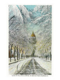 Denver, Colorado, View of the State Capitol in Winter from Snowy Sherman Street Print by  Lantern Press