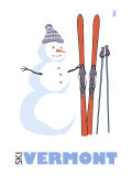 Vermont, Snowman with Skis Posters by  Lantern Press