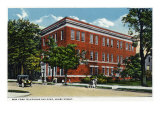 Binghamton, New York, Exterior View of the NY Telephone Building on Henry Street Poster by  Lantern Press