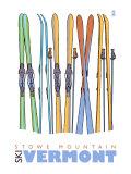 Stowe Mountain, Vermont, Skis in the Snow Prints