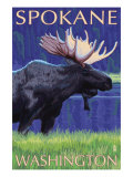 Spokane, Washington, Moose at Night Posters by  Lantern Press